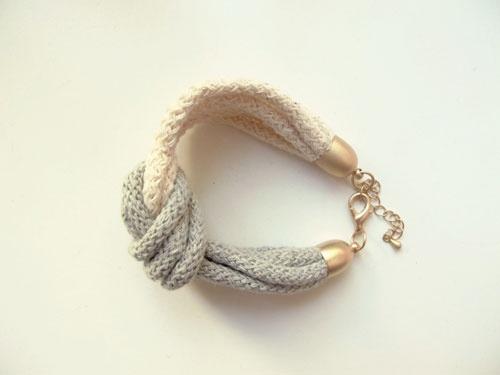DIY Knotenarmband  aus Baumwollkordel (Strickliesel)
