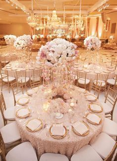 Blush Pink and Gold Wedding | Indoor Wedding Receptions | Gold Chairs and Table Settings | Blush Tablecloths | Blush Floral Centerpieces