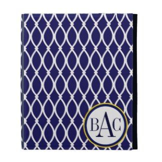 Navy Blue Monogrammed Barcelona Print iPad Folio Cover