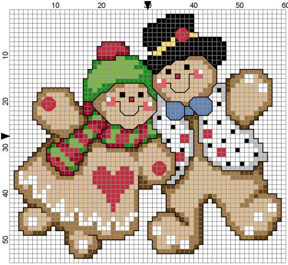 Gingerbread Couple by Stitchluv on Etsy