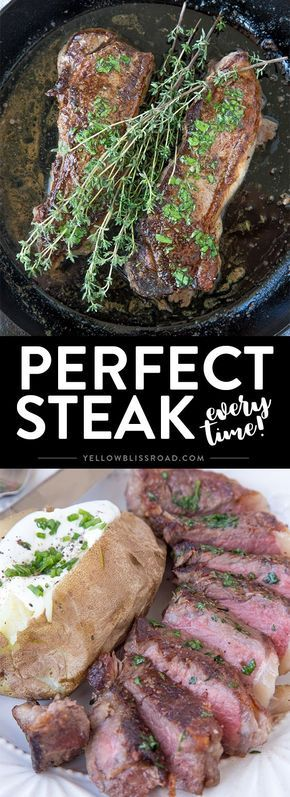 The Perfect Steak - Pan seared New York Strip Steaks seared and roasted in a…