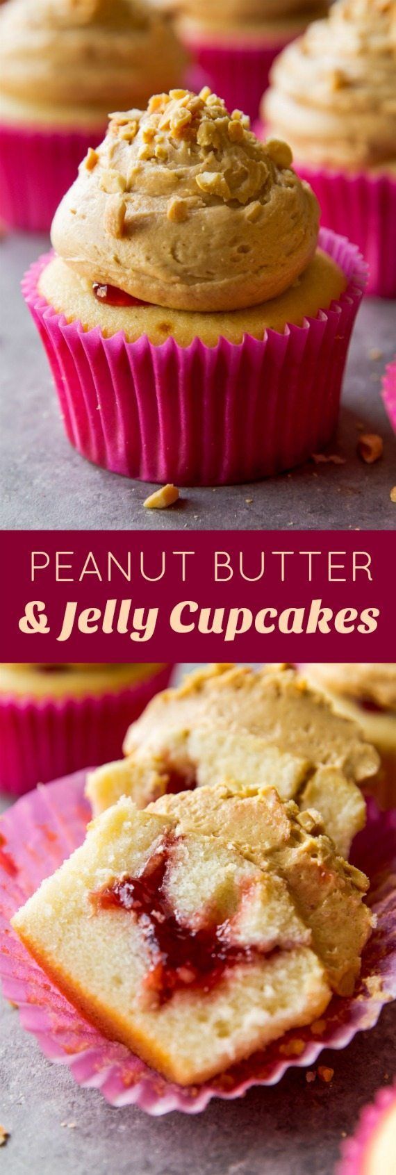 Soft and fluffy vanilla cupcakes topped with peanut butter frosting and filled with your favorite jelly! | Thanksgiving Food & Recipes | Pinterest | Cupcakes, …