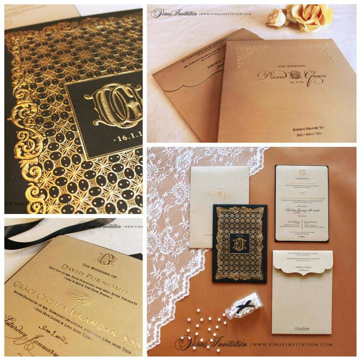 sending wedding invitations months before%0A Black gold embossed  Emboss gold  Black theme  Classic black elegant   Classic elegany style  Indonesia wedding  Wedding invitation  Sydney wedding