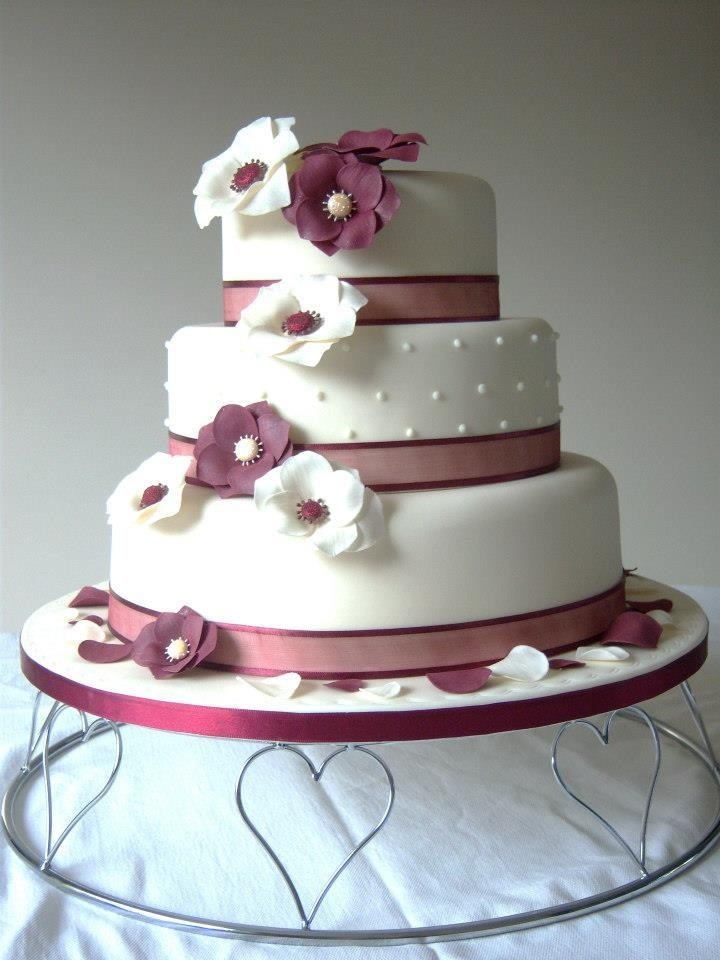Burgundy Ivory Wedding Cake