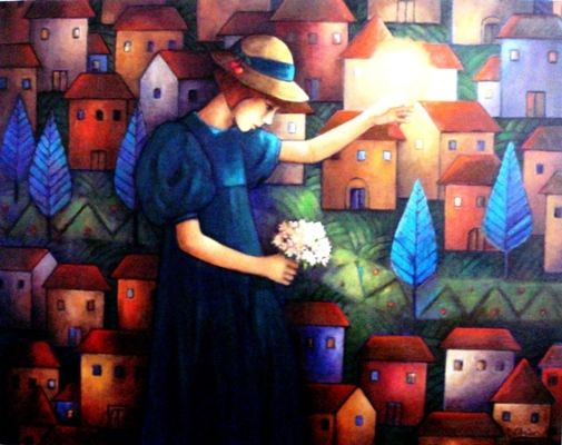 the girl with hope-2,,oil on canvas