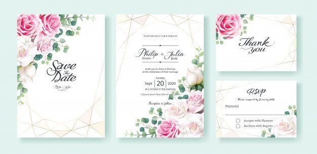 White And Pink Rose Flower Wedding Invitation Card Floral
