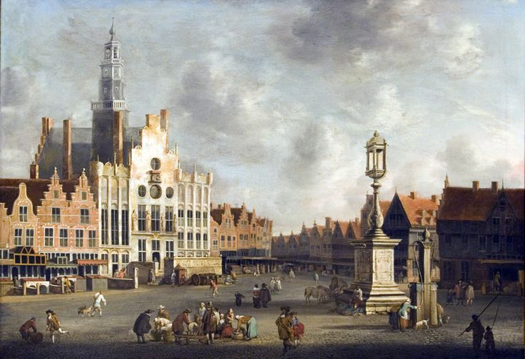 Gezicht op de markt circa 1665.