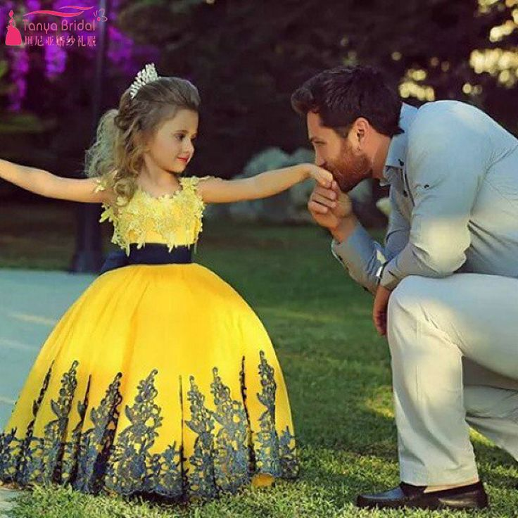 Find More Flower Girl Dresses Information about  Yellow Cute Flower Girls Dresses Lovely Little Girls Ball Gowns Lace Appliques first communion dresses for girls African Z1100,High Quality dresses china,China dresses pattern Suppliers, Cheap dress hip from Tanya Bridal Store on Aliexpress.com