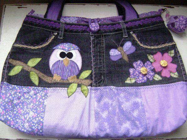 ANGICO & FUXICO -Bolsa Jeans Coruja