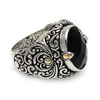 "Gothic Wedding Rings - ""Strength of Character""  Men's  Sterling Silver and Onyx Ring"