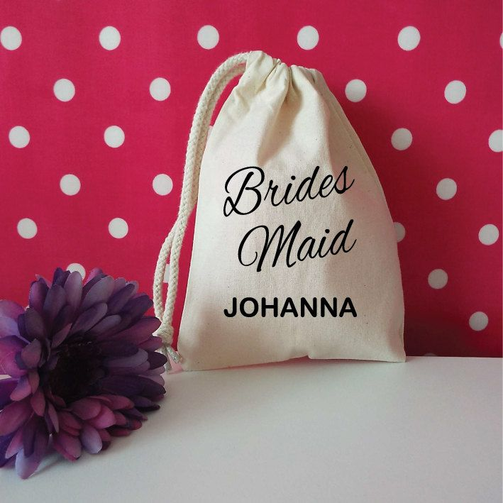Bridesmaid Custom Bag With Name. Custom Wedding Favor. Personalised Wedding Favour. Drawstring Stuff Bag. Wedding Gift Bag. Thank You Gift. by SoPinkUK on Etsy