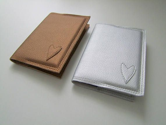 bronze card holder with heart pattern from vegan leather