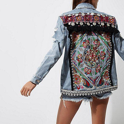 Light blue embroidered back denim jacket - jackets - coats / jackets - women