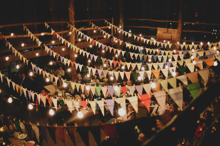 A reception hall decked with bunting.
