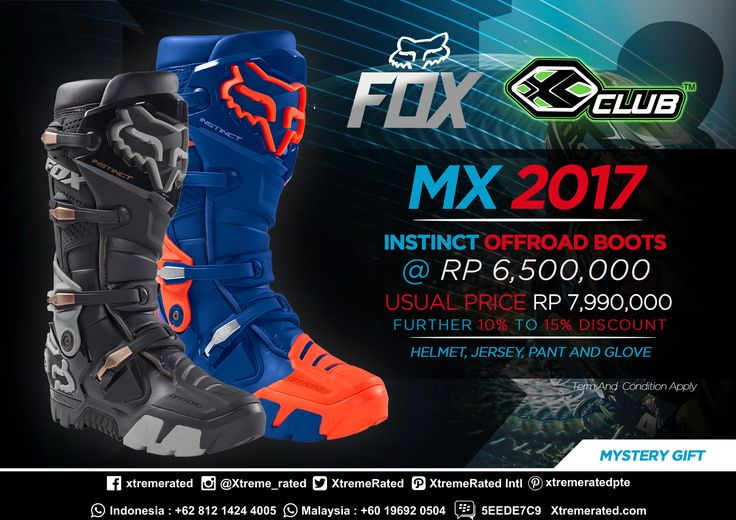 MX 2017 Instinct Offroad Boots Rp 6,500,000 only ! Further 10% to 15% discount for every purchase of  Helmet, Jersey, Pant and Glove Available in all XCLUB leading stores  #xtremerated #xclub #foxhead #foxracing #foxinstinct #boots #moto #motocross #mx #dirtbike #enduro #trail #adventure #offroad #extremesports #indonesia