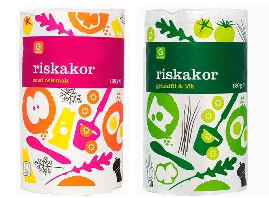 Garant Riskakor — Broby GrafiskaSara Strand, Rice Crackers, Design Ideas, Packaging Design, Packaging Food, Garant Riskakor, Colours Illustration, Brobi Grafiska, Labels Packaging