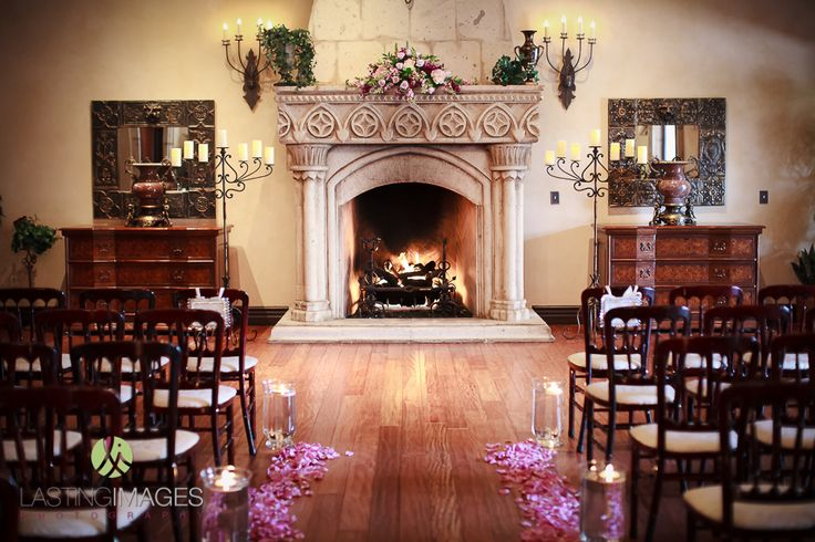 plan B ceremony by fireplace Beautiful indoor wedding ceremony eluminated by the fireplace