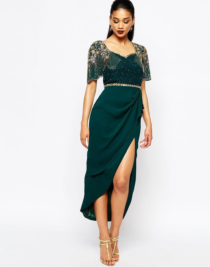 Virgos Lounge Laila Embellished Midi Dress With Thigh Split Detail -- Don't know how high the slit would be, maybe too much but I like the top part beading.