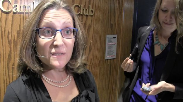 The whole thing didn't sit well with Liberal candidate Chrystia Freeland, who is also her party's trade critic.