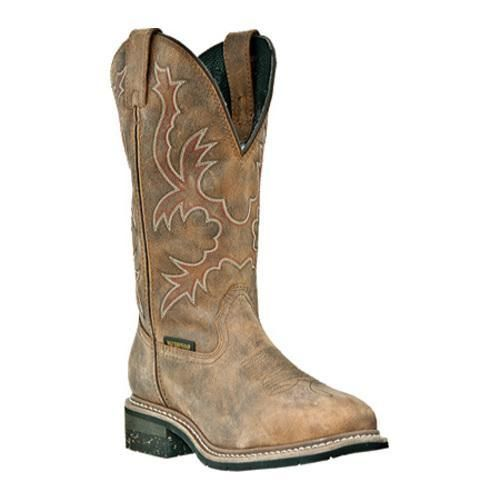 """Nogales is a steel toe cowboy boot made of waterproof leather. It has a broad square toe, a breatheable waterproof membrane, """"Combat"""" covered moisture-wicking removable insert, and a work welt rubber"""