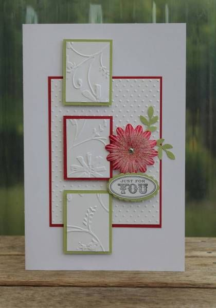 """Beautiful Embossed """"Just For You"""" Card...Kraftikat - Cards and Paper Crafts at Splitcoaststampers."""