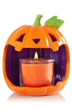 Jack-O-Lantern - Mini Candle Holder - Bath & Body Works - Make Halloween happy with this jolly jack-o-lantern! Pair with your favorite Mini Candle for a wicked cool glow.