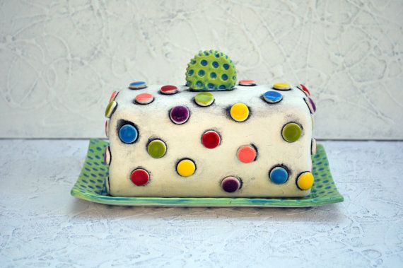 Colorful, Polka Dot, Pottery Butter Dish - MADE TO ORDER