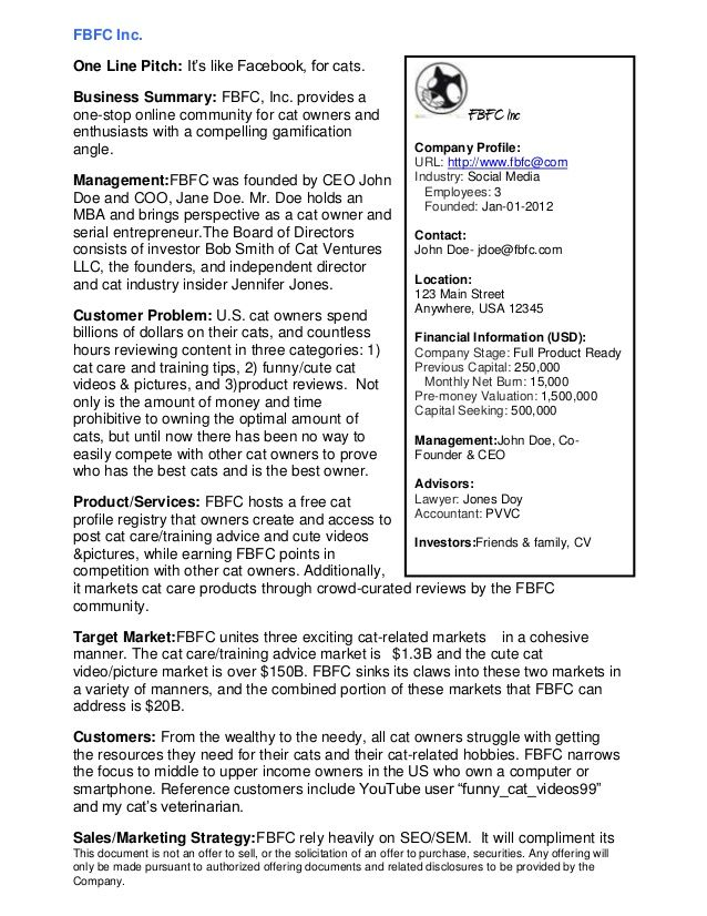 Sample Executive Summary  An Executive Summary