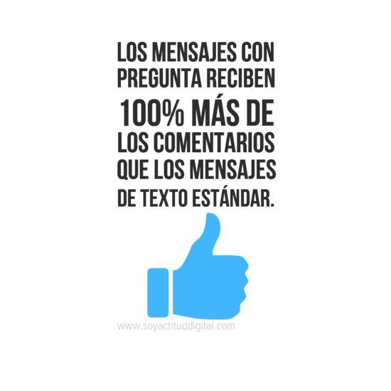 """""""Los mensajes con pregunta reciben 100% más de los comentarios que los mensajes de texto estándar"""". Facebook www.soyactituddigital.com"""