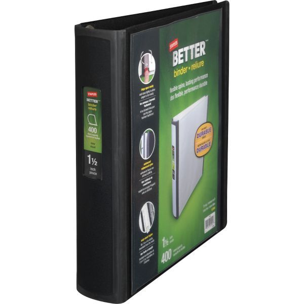 Staples Better 1.5-Inch D 3-Ring View Binder, Black (13394) | Staples