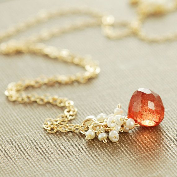 Orange Stone Necklace with Seed Pearl Cluster Gold by aubepine, $48.00