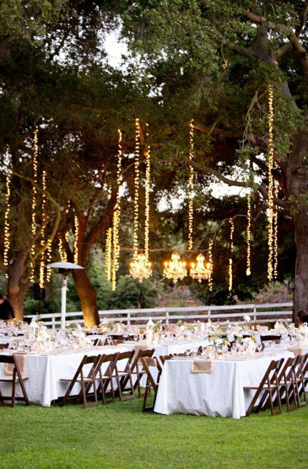 28 outdoor wedding decoration ideas chandeliers globe for Outside wedding reception decorations