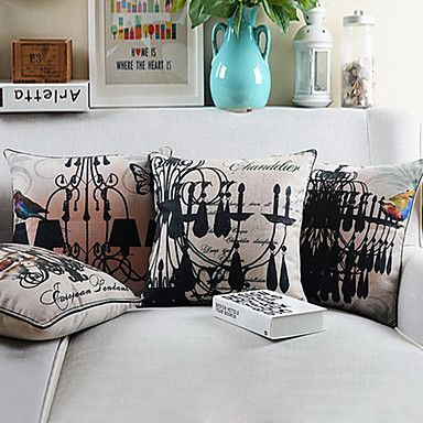 Set of 4 Big Ceiling Lamps Cotton/Linen Printed Decorative Pillow Cover – AUD $ 78.64