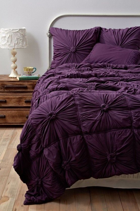 deep purple bedding to go with the gray and then will flow nicely to the grays and violets in the bathroom