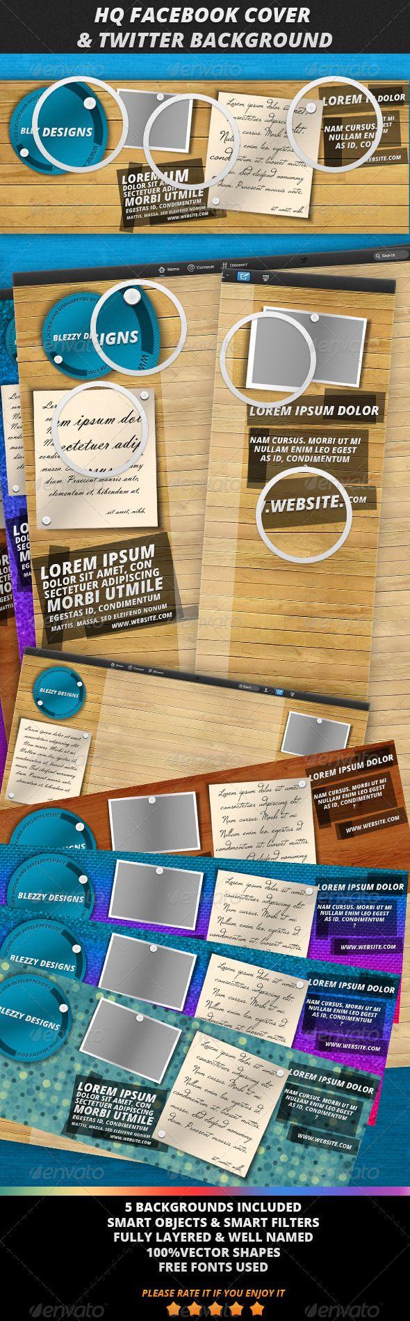 Facebook Timeline Cover & Twitter Background #PSD #Design #Premium