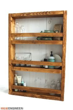 Apothecary DIY Wall Shelf Plans - Free DIY Plans | rogueengineer.com/ #Wall_Shelf #DecorDIYplans