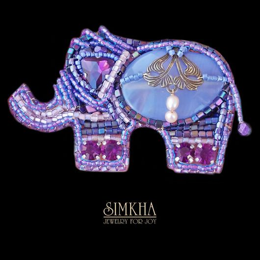 Brooches handmade. Livemaster - handmade. Buy Brooch 'Elephant'.Festive decoration, metal, vintage beads