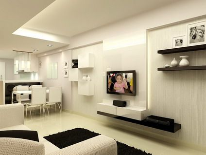 White minimalist house interior design with small modern kitchen living room open plan design - Interior design for small space house plan ...