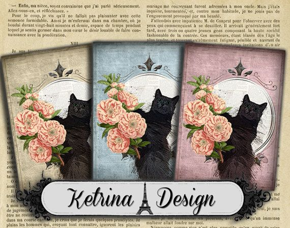 Shabby Chic Grey Cat ATC images 2.5 x 3.5 cards by KetrinaDesign