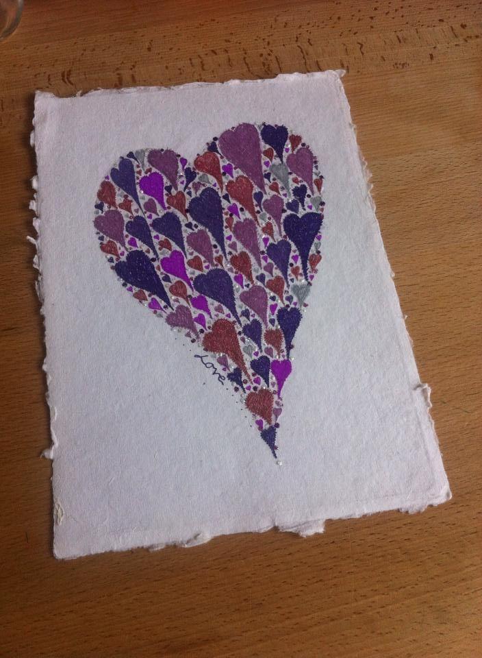 original heart drawing on hand made paper by Emmas Art