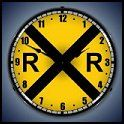 Railroad Crossing Lighted Wall Clock-fun-train-theme-wall-decorations. This sign is awesome when lit! This is a must for any collector and would look great in your home, office or garage.