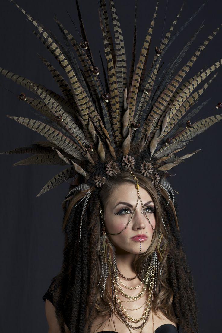 www.etsy.com/shop/lotuscircle lotuscircle, headdress, headdresses, wig, tribal wig, feather headpiece, feather wear, burningman, couture, fashion, runway, tribal, chains, goddess, gypsy, queen, fantasy, costume, gypsy life, art, head art, design, chain headdress, chain art, body chain, wearable art, natural art