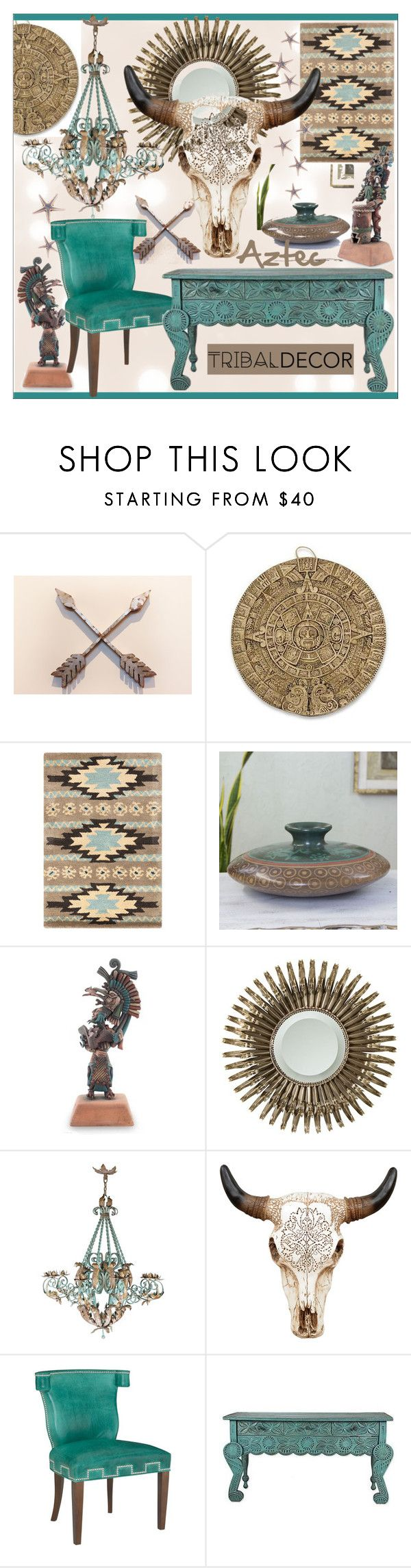 """""""Tribal Decor * Turquoise Living Room"""" by calamity-jane-always ❤ liked on Polyvore featuring interior, interiors, interior design, home, home decor, interior decorating, NOVICA, Universal Lighting and Decor, living room and homedecor"""