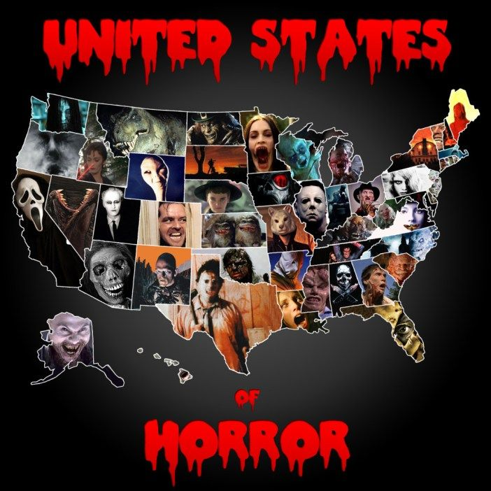 "United States of Horror Map. Cool, a scary movie that took place in each state. I had to look closer but it looks like KY is ""Return of the Living Dead."" They could have also made KY ""Shadow People."" That was a good one!"