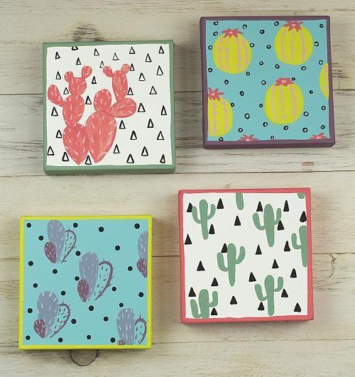 Make a trendy quartet of cactus accents http://decoart.com/project/cactus- #DIY #crafts #art