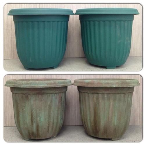 """Make inexpensive plastic pots look like they're stone that's been """"aging in an English garden for a century."""""""