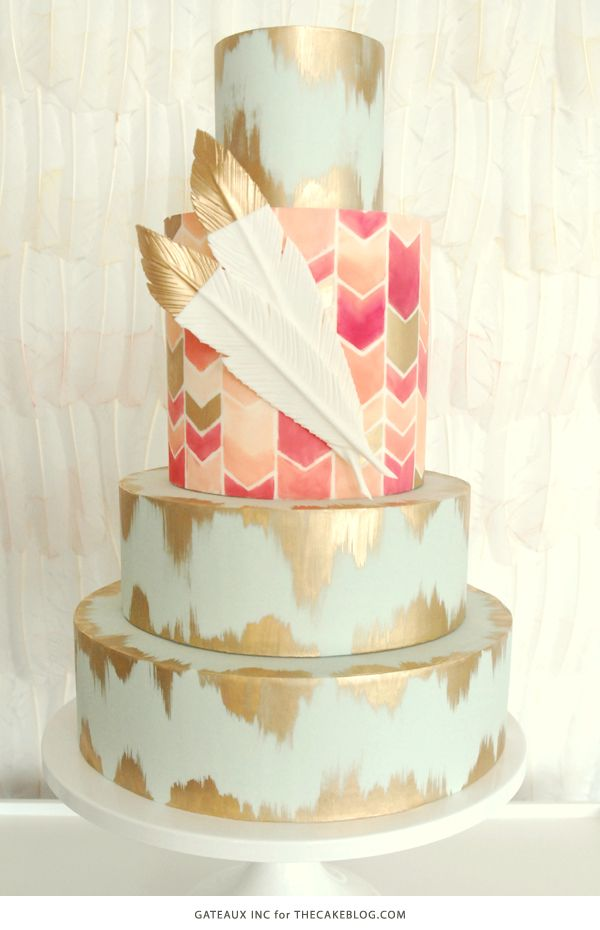 2015 Wedding Cake Trends | including this hand-painted chevron & gold cake