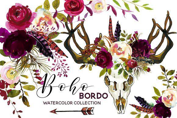 Boho Burgundy Watercolor Flowers by whiteheartdesign on Creative Market