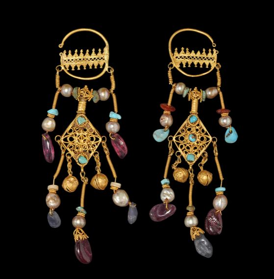 Ancient & Medieval History - Byzantine Gold Earrings, 10th-12th Century  With sapphires, turquoise, amethyst and pearls