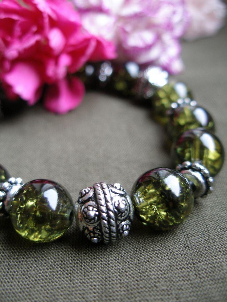 Crackle - DIY jewellery glass green bracelet